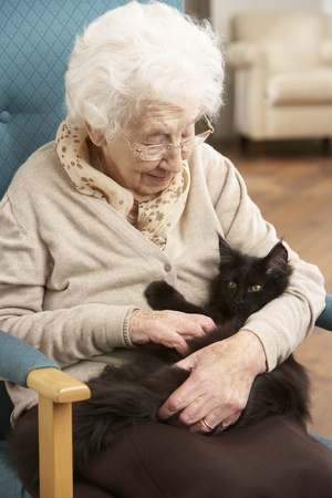 residental care: Senior Woman Relaxing In Chair At Home With Pet Cat Stock Photo