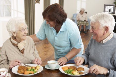 carer: Senior Couple Being Served Meal By Carer