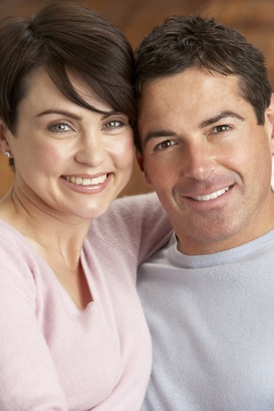 realtionship: Portrait Of Romantic Young Couple Stock Photo