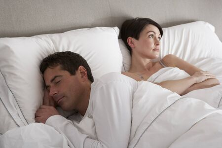 nightime: Couple With Problems Having Disagreement In Bed