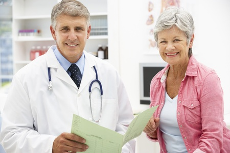 happy doctor woman: Doctor with female patient
