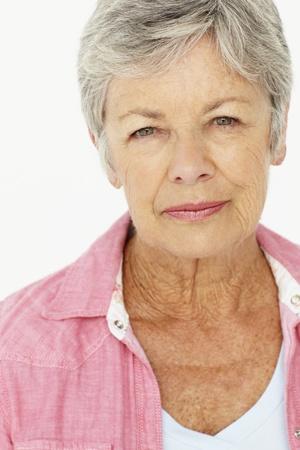 serious face: Portrait of senior woman