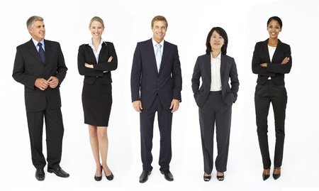 woman middle age: Mixed group of business men and women