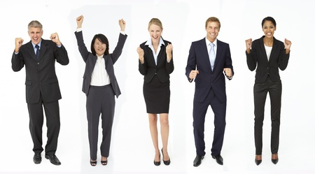 mixed age: Triumphant group of businessmen and women