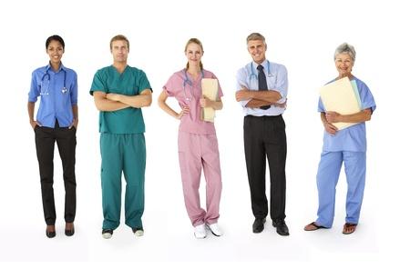 profesionálové: Smíšená skupina zdravotnických pracovníků Reklamní fotografie