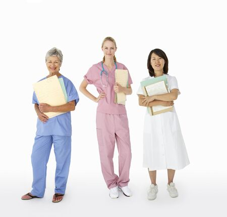 asian medical: Mixed group of female medical professionals
