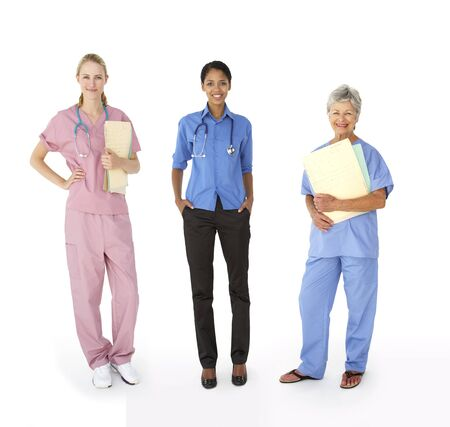 mixed age: Mixed group of female medical professionals