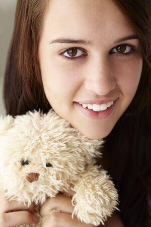 cuddly toy: Close up teenage girl with cuddly toy Stock Photo