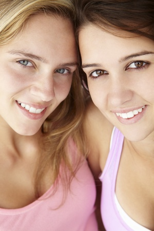 Close up portrait of teenage girls photo