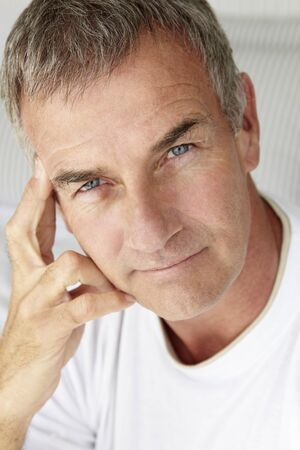 greying: Mid age man head and shoulders Stock Photo