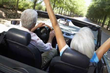 older couples: Senior couple in sports car