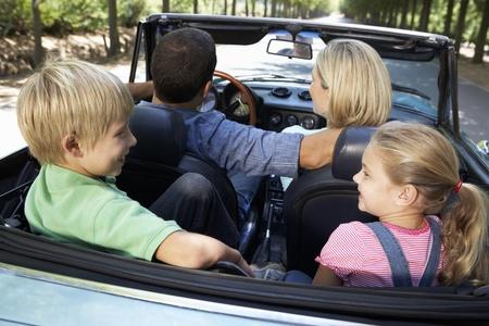 top down car: family in sports car