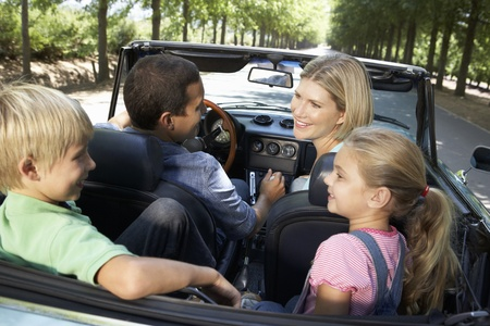 convertible car: family in sports car