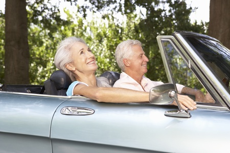 Senior couple in sports car Stock Photo - 11190307
