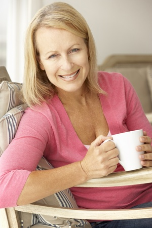 mature female: Senior woman at home Stock Photo