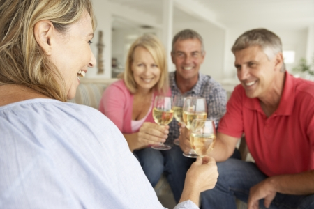 social drinking: Mid age couples drinking together at home