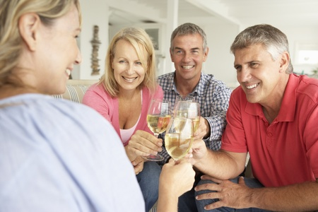 bebiendo vino: Parejas a mediados de edad bebiendo juntos en el hogar Foto de archivo