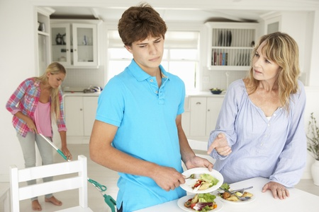 doing chores: Teenagers reluctant to do housework