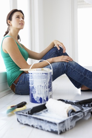 Woman decorating house photo