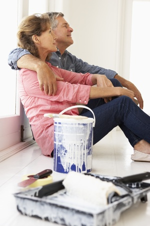 home renovation: Senior couple decorating house Stock Photo