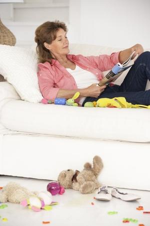 adult magazines: Grandmother enjoying a rest