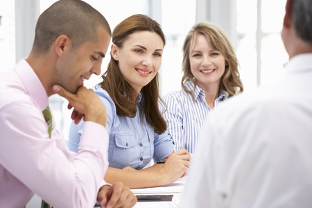 group discussion: Business colleagues in meeting Stock Photo