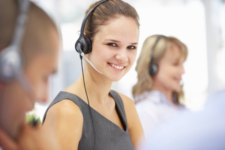 call center female: Young businesswoman wearing headset