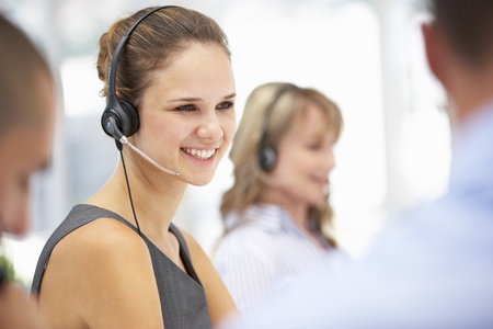 call center woman: Young businesswoman wearing headset