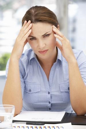 under pressure: Worried businesswoman