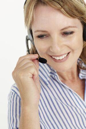 Businesswoman wearing headset photo
