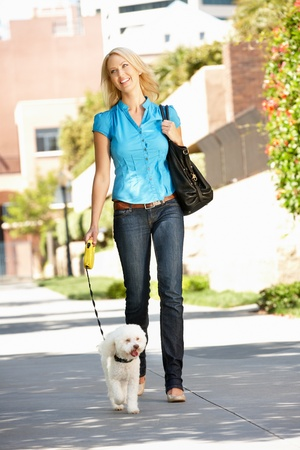 dog leashes: Woman walking with dog in city street