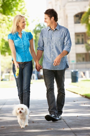 couple WALKING: Couple walking with dog in city street Stock Photo