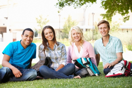 sitting on the ground: Student group outdoors