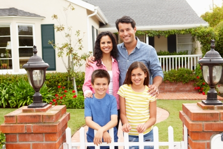 hispanic family outside home stock photo picture and royalty free