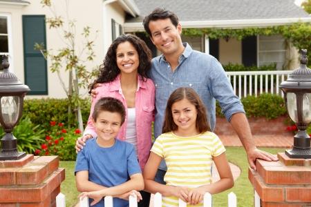 family at home: Hispanic family outside home