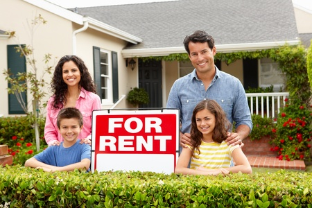 for rent: Hispanic family outside home for rent