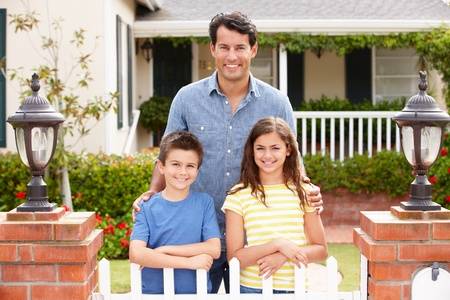 organized home: Father and children outside home