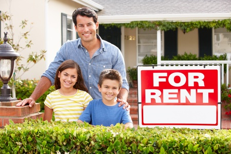 Father and children outside home for rent Stock Photo - 11217848