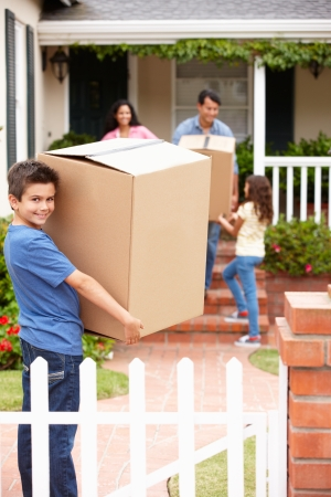 Family moving into rented house photo