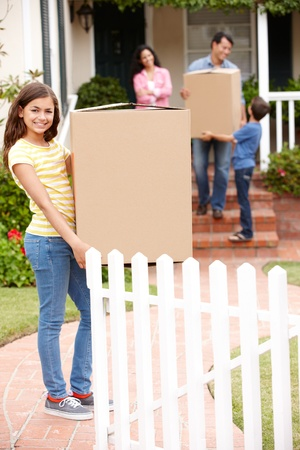 home moving: Family moving into new house