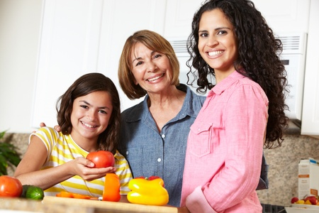 Mother,daughter and grandmother cooking photo