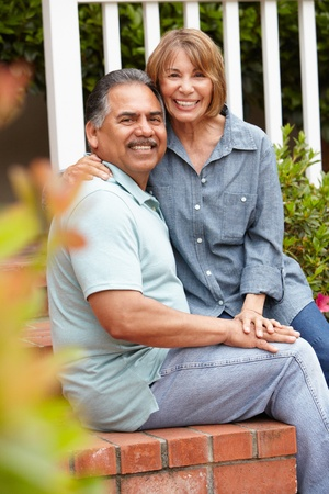 Senior couple relaxing in garden Stock Photo - 11218046