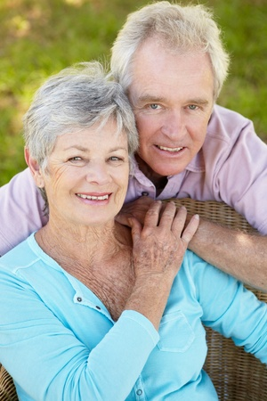 gray haired: Portrait of senior couple