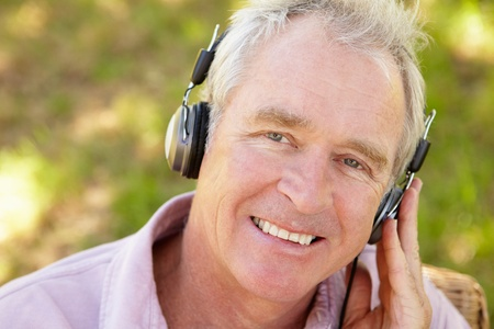 Senior man with headphone Stock Photo - 11239029