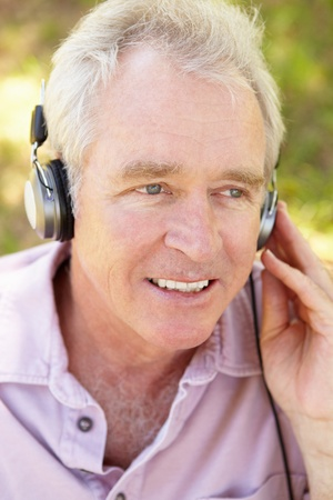 Senior man with headphone Stock Photo - 11239013