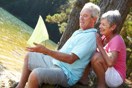 Senior couple fishing together Stock Photo - 11239087