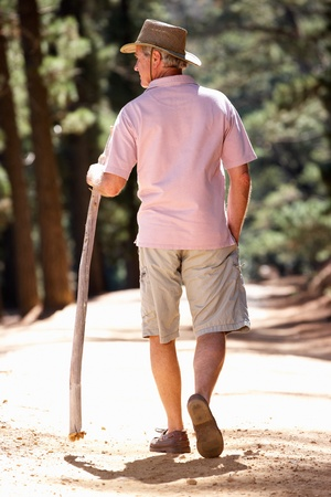 seniors walking: Senior man on country walk