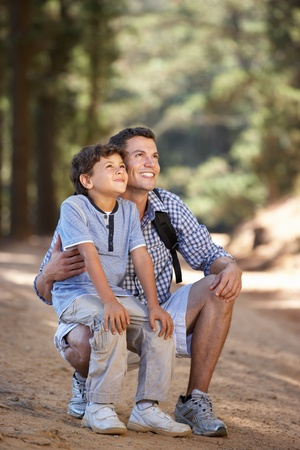 6 year old children: Father and son on country walk