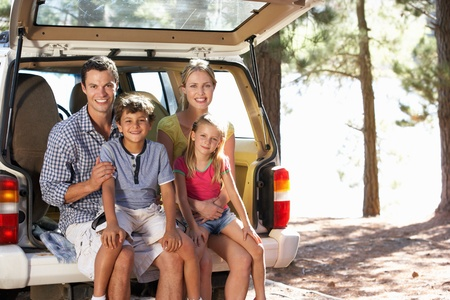 day trip: Young family on day out in country Stock Photo