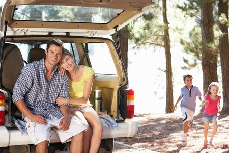 Young family on day out in country Stock Photo - 11238824